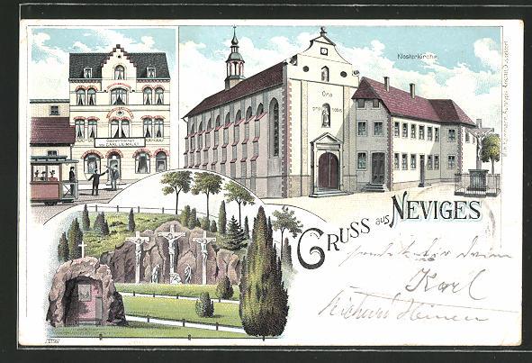 Lithographie Neviges, Gastwirtschaft von Carl Leimklef, Klosterkirche, Jesu-Kreuze