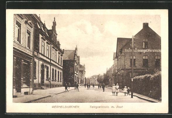 AK Wermelskirchen, Gasthaus evangel. Vereinshaus in der Telegrafenstrasse m. Post
