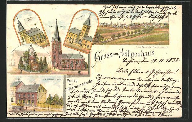 Lithographie Heiligenhaus, Lutherkirche, Kathol. Kirche, Reform. Kirche, G. Hermannspahn, Denkmal, Totalansicht