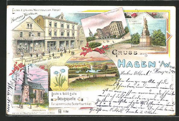 Lithographie Hagen i. W., Warenhaus Hermann Kornblum Frankfurter Str. 99 /101, Johanniskirche, Gymnasium, Kriegerdenkmal