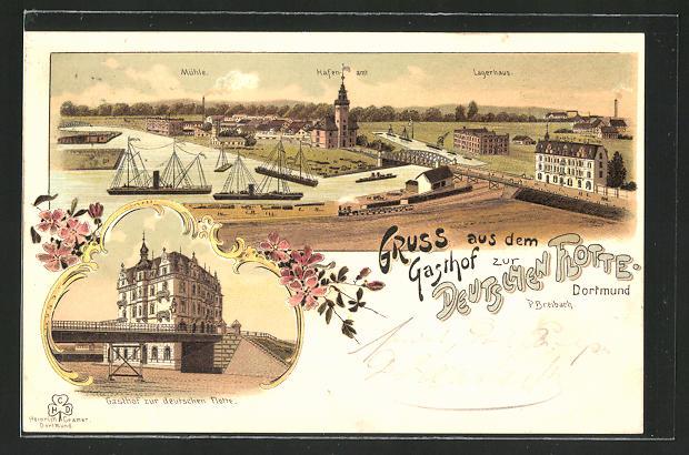 Lithographie Dortmund, Gasthof zur Deutschen Flotte, Ortsansicht mit Mühle, Hafenamt & Lagerhaus