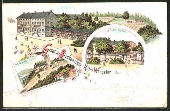Lithographie Blankenstein, Blick auf die Burg mit Saal, Garten und Kegelbahn, Hotel Wengeler