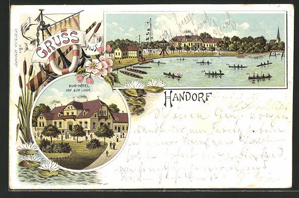 Lithographie Handorf, Blick auf Kurhotel, Partie am See mit Ruderbooten