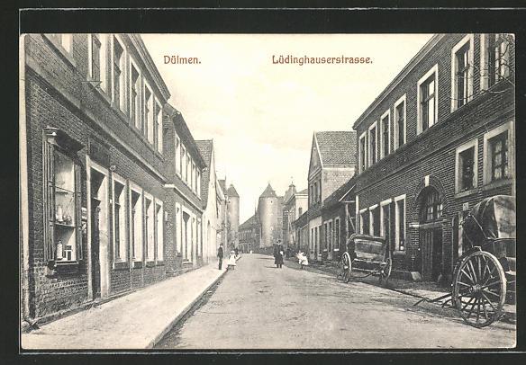 AK Dülmen, Blick in die Lüdinghauserstrasse