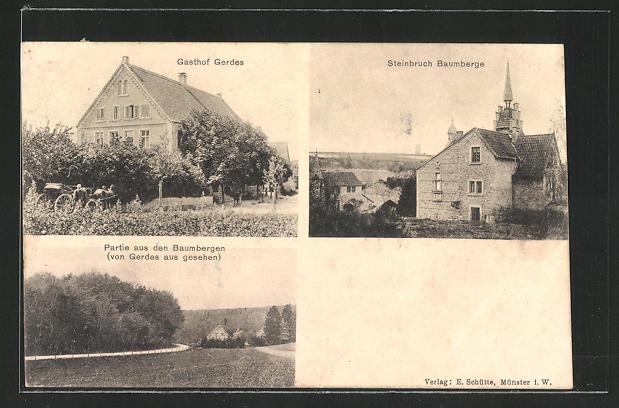 AK Nottuln, Gasthof Gerdes, Steinbruch Baumberge, Baumberge von Gerdes aus gesehen