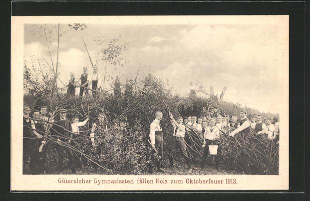 AK Gütersloh, Gymnasiasten fällen Holz zum Oktoberfeuer 1913