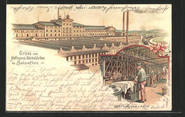 Lithographie Salzuflen, Hoffmann's Stärkefabriken, Westansicht, Zentrifugenraum