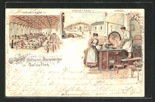 Lithographie Salzuflen, Hoffmann's Stärkefabriken, Speiseraum II, Speisesaal I, Küche