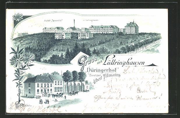 Lithographie Lüttringhausen, Düringerhof, Blick zur Anstalt Tannenhof