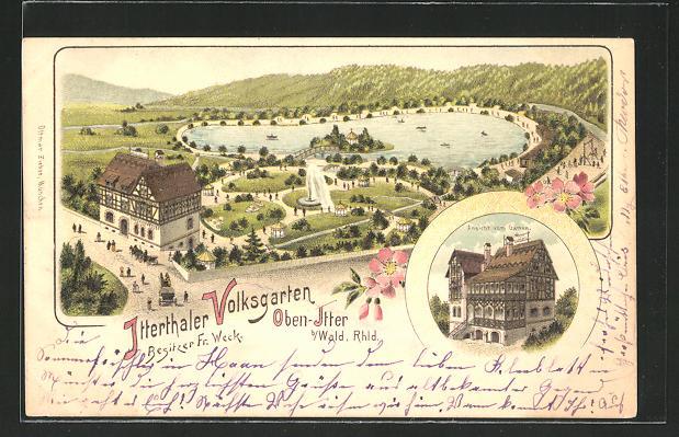 Lithographie Solingen - Obenitter, Gasthaus Volksgarten, Haus vom Garten gesehen
