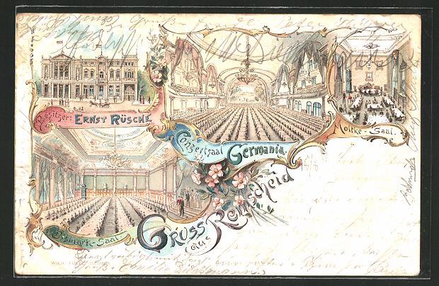 Lithographie Remscheid, Konzertsaal Germania, Motke-Saal, Bismarck-Saal