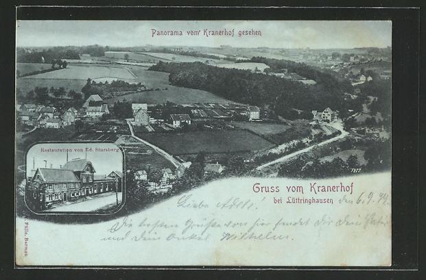 AK Lüttringhausen, Restauration Kramerhof von Ed. Stursberg, Panorama vom Kranerhof gesehen