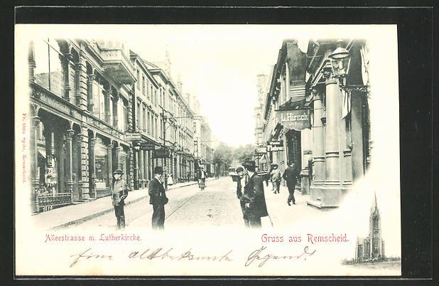AK Remscheid, Blick in die Alleestrasse mit Lutherkirche