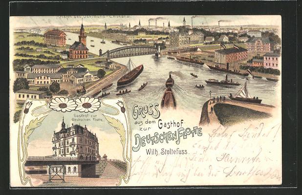 Lithographie Dortmund, Gasthof Zur Deutschen Flotte, Hafen des Dortmund-Emskanal