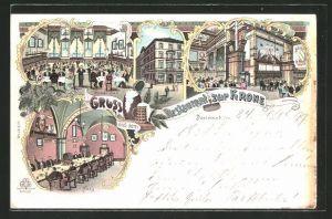 Lithographie Dortmund, Restaurant Zur Krone, Weisser Saal, Fass, Speisesaal