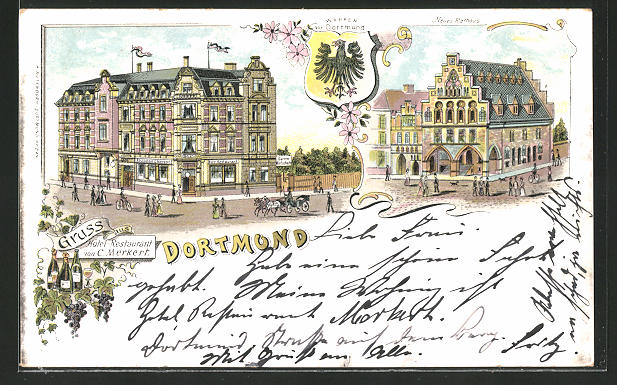 Lithographie Dortmund, Hotel-Restaurant v. C. Merkert, Neues Rathaus