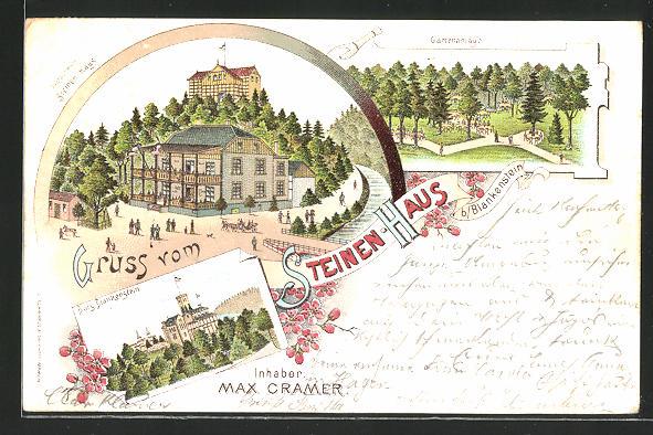 Lithographie Blankenstein, Restauration Steinen-Haus, Blick zur Burg, Gartenanlage