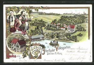 Lithographie Solingen-Wald, Gasthaus Itterthaler Volksgarten