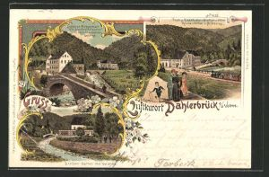 Lithographie Dahlerbrück a. d. Volme, Hotel-Restaurant A. Henke und Bahnhof