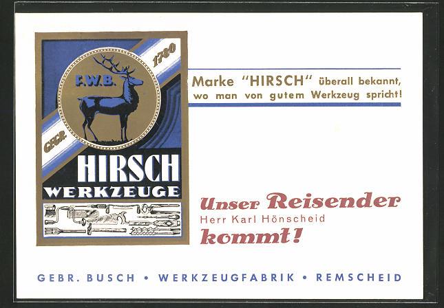 AK Remscheid, Werkzeugfabrik Gebr. Busch, Ankündigung eines Vertreters