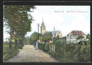 AK Greven i. W., kath. Kirche und Mädchenheim