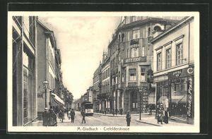 AK Mönchen Gladbach, Crefelder Strasse mit Strassenbahn