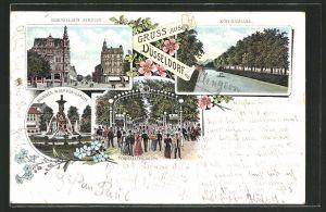 Lithographie Düsseldorf, Tonhallengarten, Brunnen in der Königsallee, Elberfelder Strasse, Königsallee