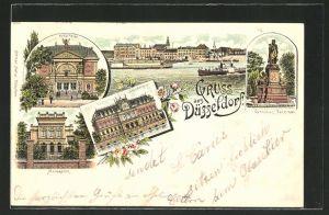 Lithographie Düsseldorf, Malkasten, Ständehaus, Kunsthalle, Cornelius-Denkmal, Totalansicht