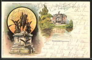 Lithographie Düsseldorf, Kaiser Wilhelm I. Denkmal und Partie an der Kunsthalle