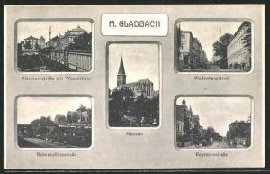 AK M. Gladbach, Viersenerstrasse m. Wasserturm. Hohenzollernstrasse, Münster, Regentenstrasse, Hindenburgstrasse