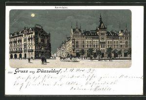 Mondschein-Lithographie Düsseldorf, Partie auf dem Bahnhofplatz