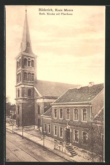 AK Büderich / Moers, Katholische Kirche mit Pfarrhaus
