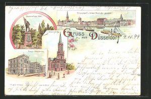 Lithographie Düsseldorf, Kunst-Akademie, Johanniskirche, Denkmal der 39er, Totalansicht v. linken Rheinufer aus gesehen