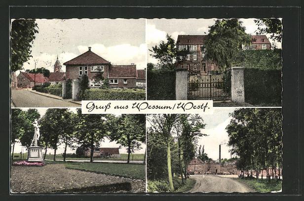 AK Wessum / Westf., Denkmal, Ortspartie, Einfahrt, Strassenpartien