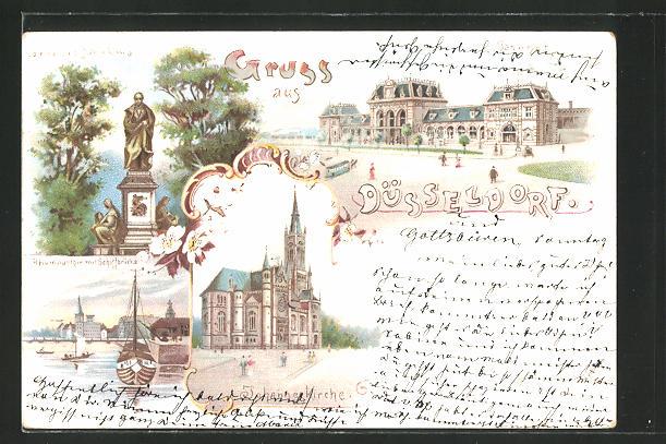 Lithographie Düsseldorf, Johannes Kirche, Rheinparthie m. Schiffbrücke, Cornelius Denkmal, Bahnhof