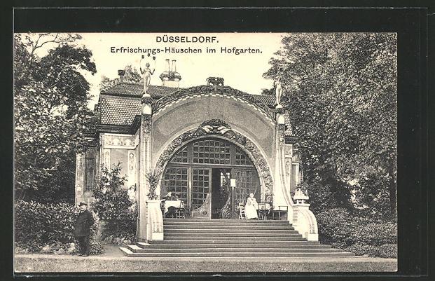 AK Düsseldorf, Erfrischungs-Häuschen im Hofgarten