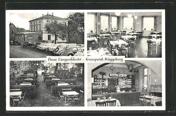 AK Ennepetal-Rüggeberg, Gasthaus Haus Langenscheidt mit Innenansicht und Garten