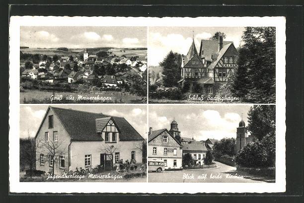 AK Meinerzhagen, Gesamtansicht, Schloss Badinghagen, Jugendherberge und Kirchen