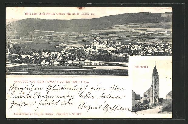 AK Olsberg / Ruhrtal, Panorama vom hohen Olsberg aus & Pfarrkirche