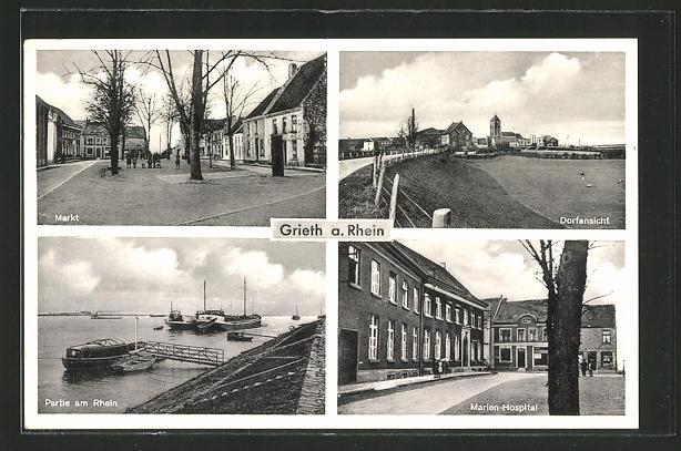 AK Grieth a. Rhein, Markt, Dorfpartie, Marien-Hospital und Rheinpartie