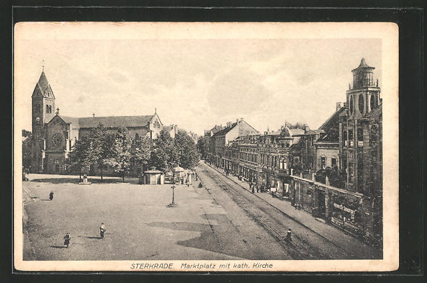 AK Sterkrade, Marktplatz mit kath. Kirche