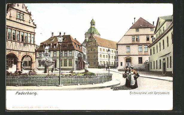 AK Paderborn, Rathausplatz und Gymnasium