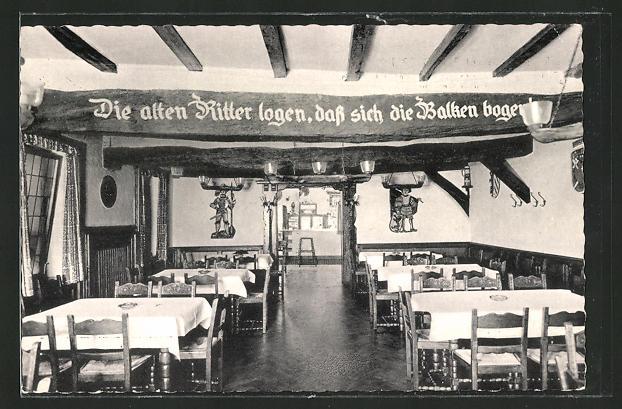 AK Brüggen / Ndrh., Park-Restaurant Burg Brüggen, Deckenbalken mit Inschrift