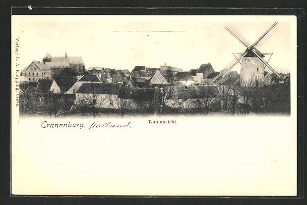 AK Cranenburg, Teilansicht mit Windmühle und Kirche