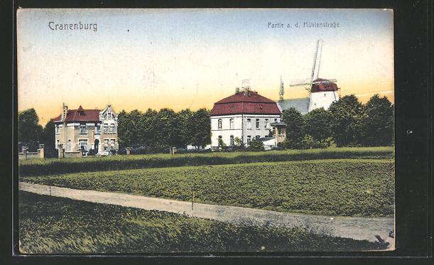 AK Cranenburg, Teilansicht mit Windmühle 0