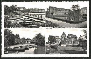 AK Osterfeld, Stadtpark m. Waldhof, Horst-Wessel-Platz m. Lyzeum, Bootsstelle, Schloss Vondern