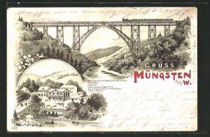 Lithographie Müngsten a. d. W., Flusspartie mit Eisenbahnbrücke, Ortspartie mit Flusspartie