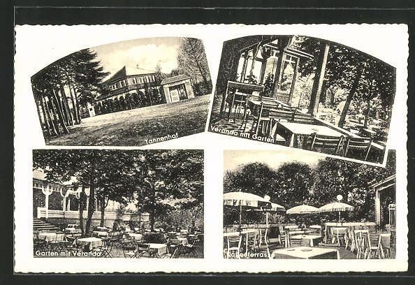 AK Münster-Mauritz, Hotel-Restaurant Tannenhof, Bes. H. Bruchmann, Veranda m. Garten, Kaffeeterrasse