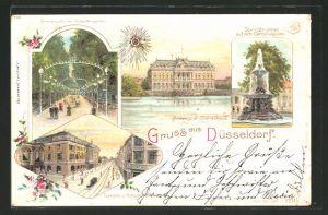 Lithographie Düsseldorf, Provinzial-Ständehaus, Promenade im Tonhallengarten und Blick zur Schadowstrasse