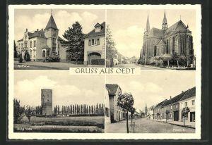 AK Oedt, Partie am Rathaus, Kirche, Burg Uda und Hochstrasse